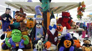 Halloween plush toys and decorations for sale at St. Vincent de Paul's Fond du Lac.