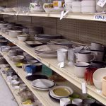 House Ware department including dishes, cups, saucers, mugs and plates.