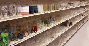 Housewares glass section section at St. Vincent de Paul Fond du Lac.