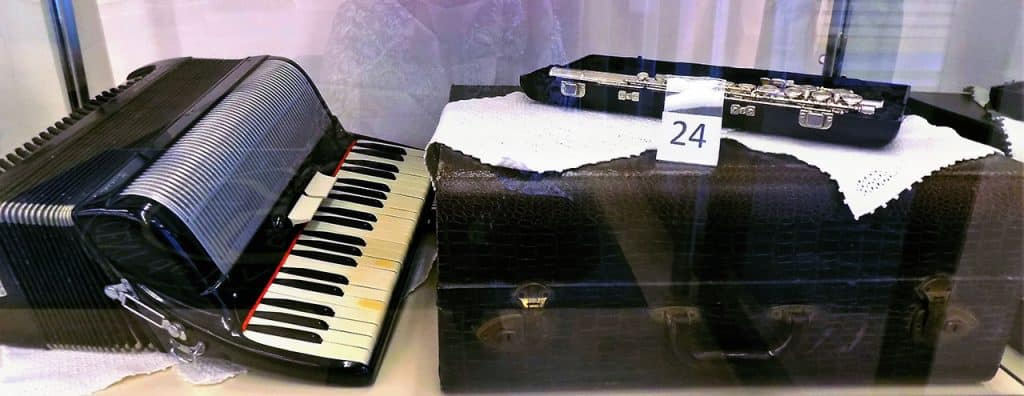 Lucia accordion and Leblanc Vito flute with cases.