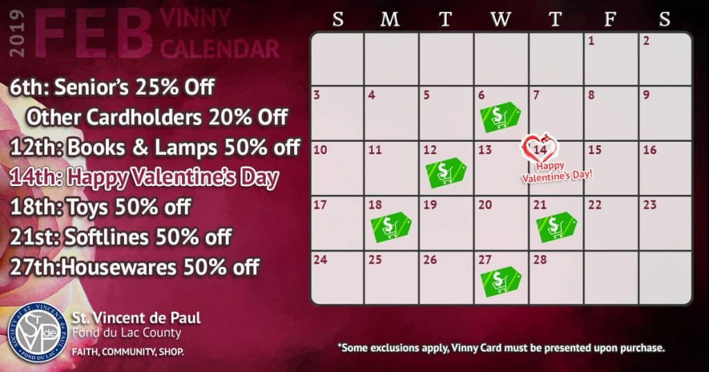February 2019 Vinny Card Calendar.