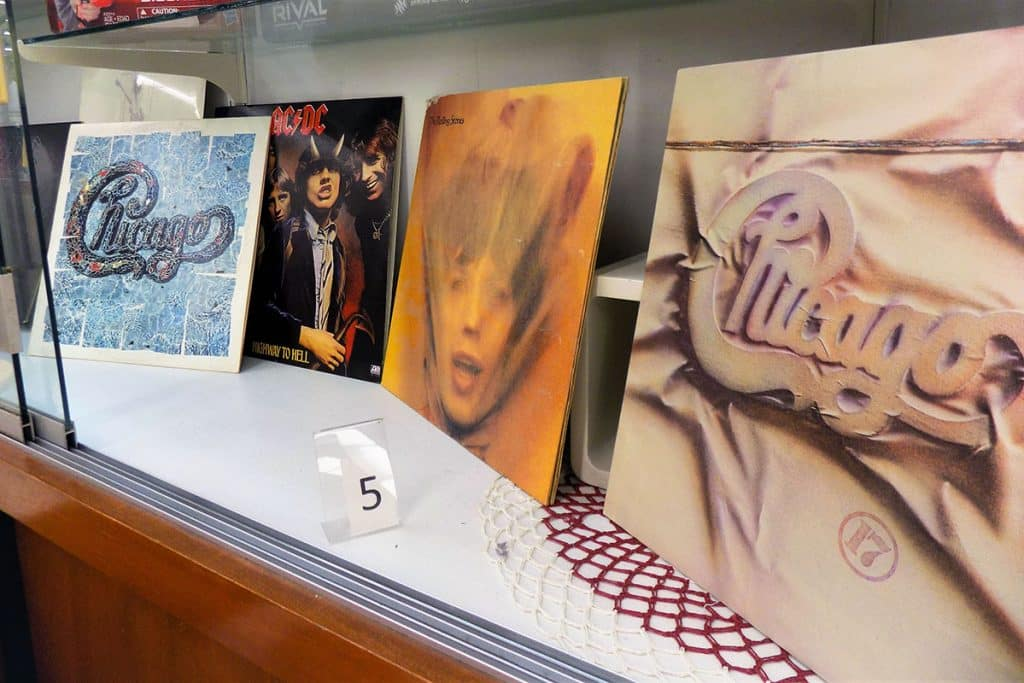 Rock'n Roll record collection including ACDC, Chicago, and The Rolling Stones