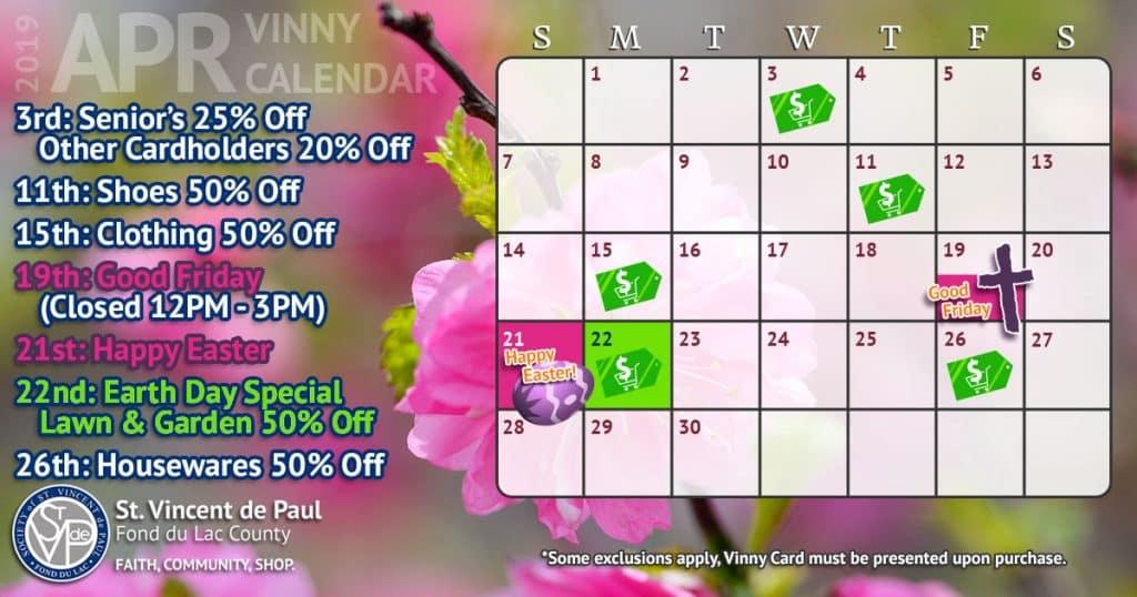 April 2019 Vinny Card Calendar.
