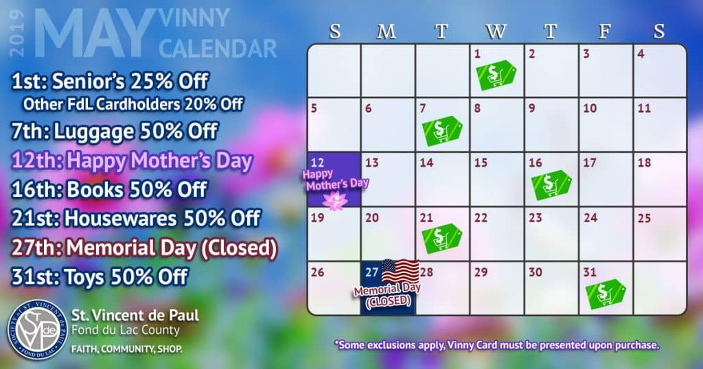 May 2019 Vinny Card Calendar.