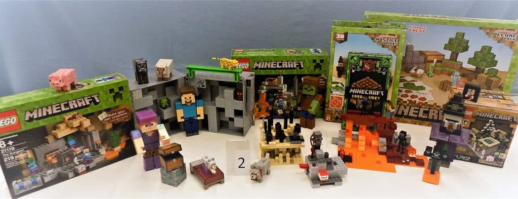MINECRAFT LEGO blocks and games.