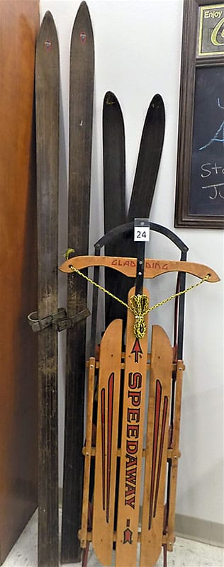 Speedway sled and old skis.