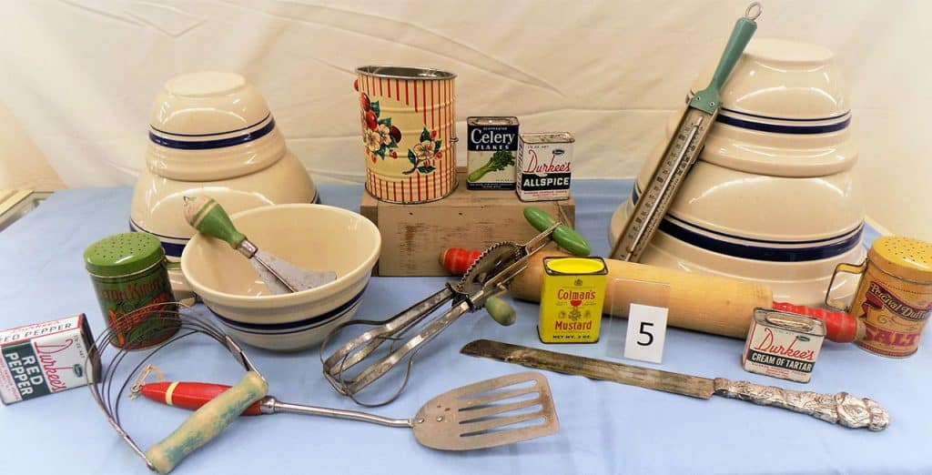 Old time kitchen utensils.