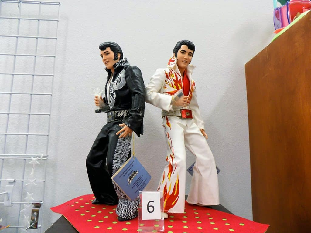 "Set of two ""King of Rock"" Elvis Presley dolls."