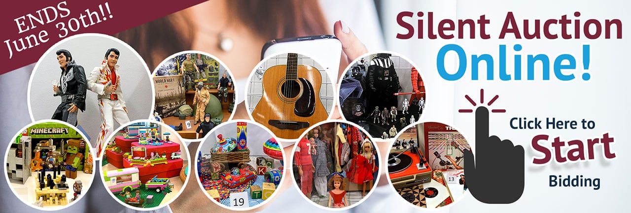 SVDP June 2019 Silent Auction (home banner). Items brands include vinyl records and player, Star Wars merchandise, Minecraft and other LEGOs, an acoustic guitar, vintage Barbie and Ken dolls and more!