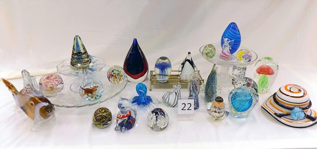 Glass paperweight assortment.