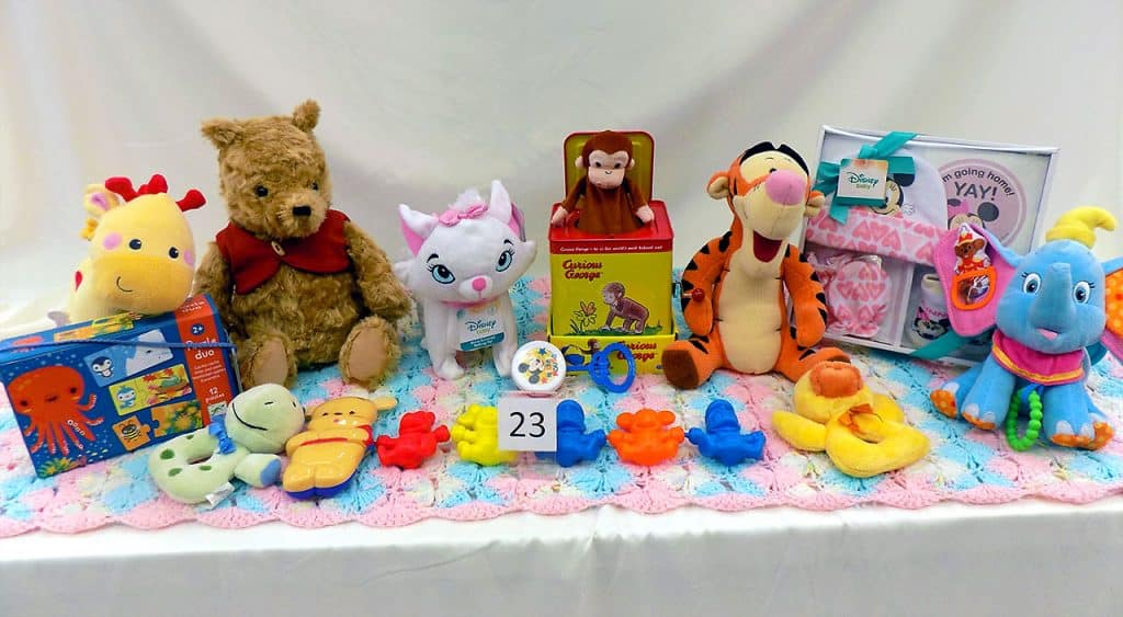 Plush infant toys assortment.