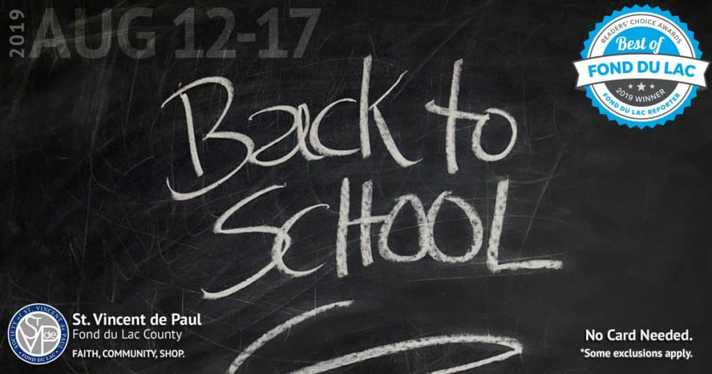 8/12/19 thru 8/17/19: Back to School Sale.