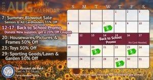August 2019 Vinny Card Calendar.
