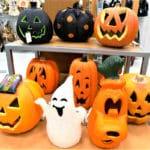 Foam plastic pumpkin Halloween decorations.