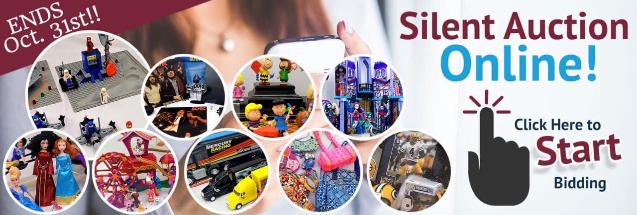 SVDP October 2019 Silent Auction. Items brands include LEGOs, ACDC vinyl records, Peanuts figurines, Monster High, Disney princess and villain dolls, Lalaloopsy, die cast trucks, Vera Bradley purses, Green Bay Packer merchandise and more!