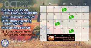 October 2019 Vinny Card Calendar.