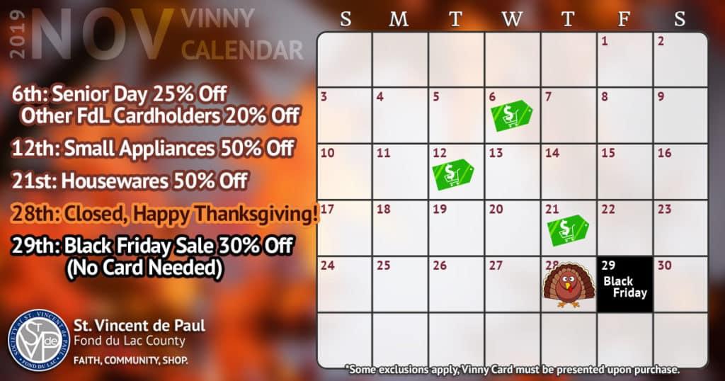 November 2019 Vinny Card Calendar.