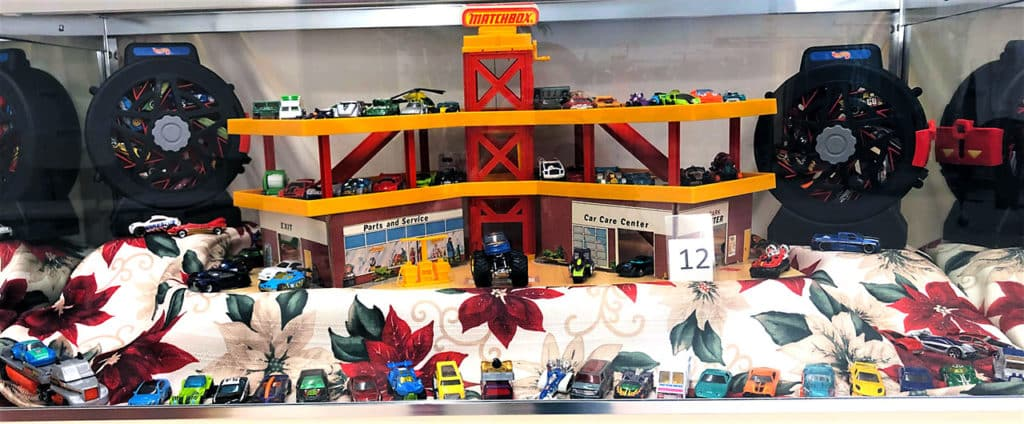Hot Wheels cars and playset lot.