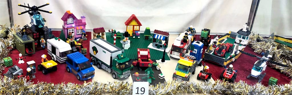 LEGO lot in a Christmas display.