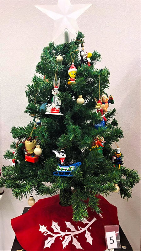 Looney Tunes ornaments on a Christmas tree.