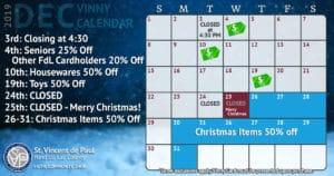 December 2019 Vinny Card Calendar.