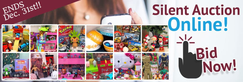 SVDP December 2019 Silent Auction. Items brands include LEGOs, American Girl, Pyrex dishes, Hello Kitty, WWE, Nintendo, LOL dolls and more!
