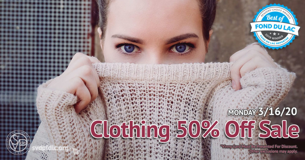 3/16/20: Clothing 50% Off Sale.