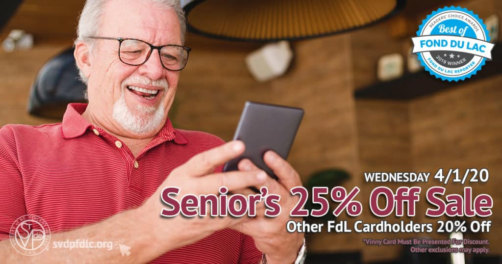 4/1/20: Seniors 25% Off, other cardholders 20% off.