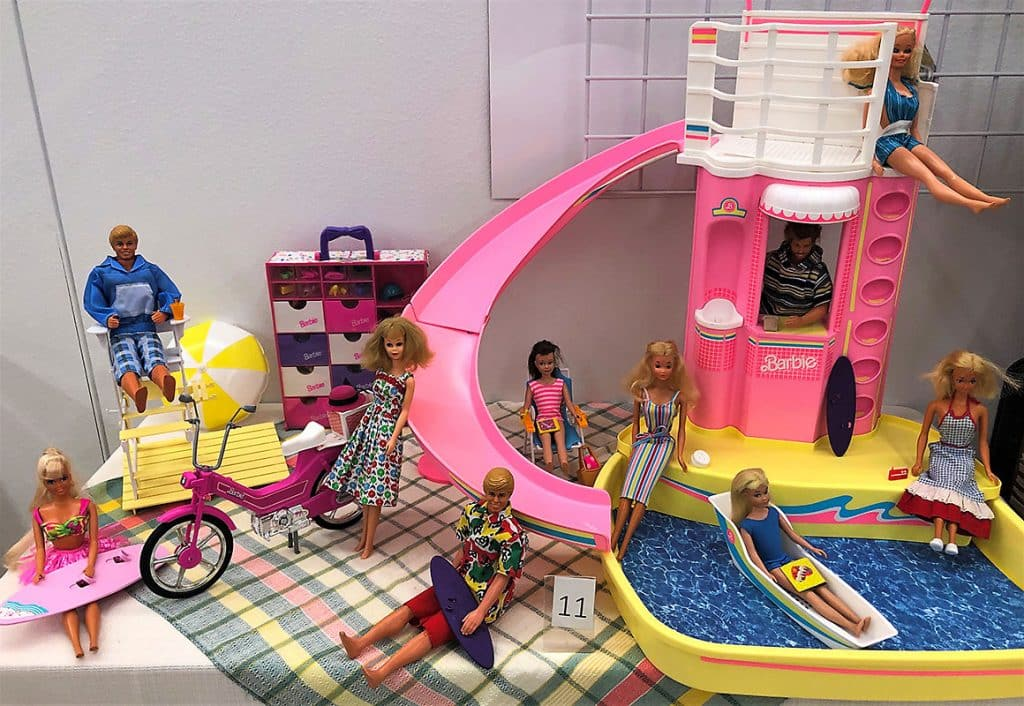 Barbie swimming pool playset and collection.