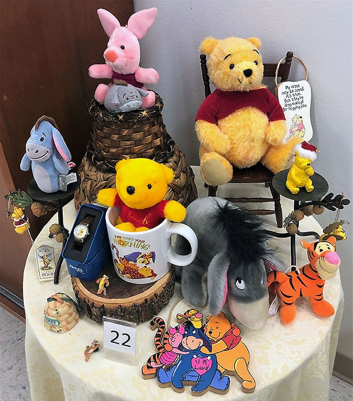 Winnie the Pooh plush dolls and collectibles.