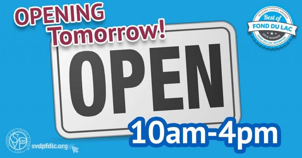 St. Vincent de Paul Opening Tomorrow announcement.