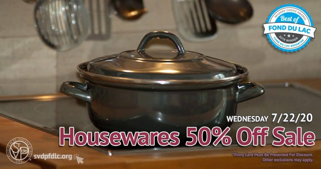 7/22/20: Housewares 50% Off Sale.