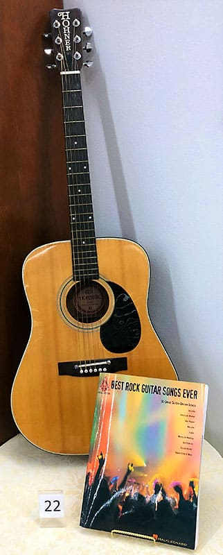 Hohner beginner acoustic guitar with rock song tablature.