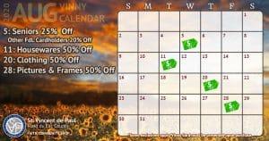 August 2020 Vinny Card Calendar.