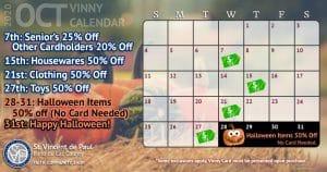 October 2020 Vinny Card Calendar.