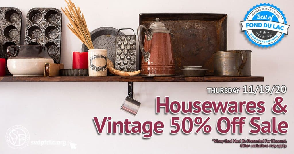 11/19/20: Housewares & Vintage 50% Off Sale.