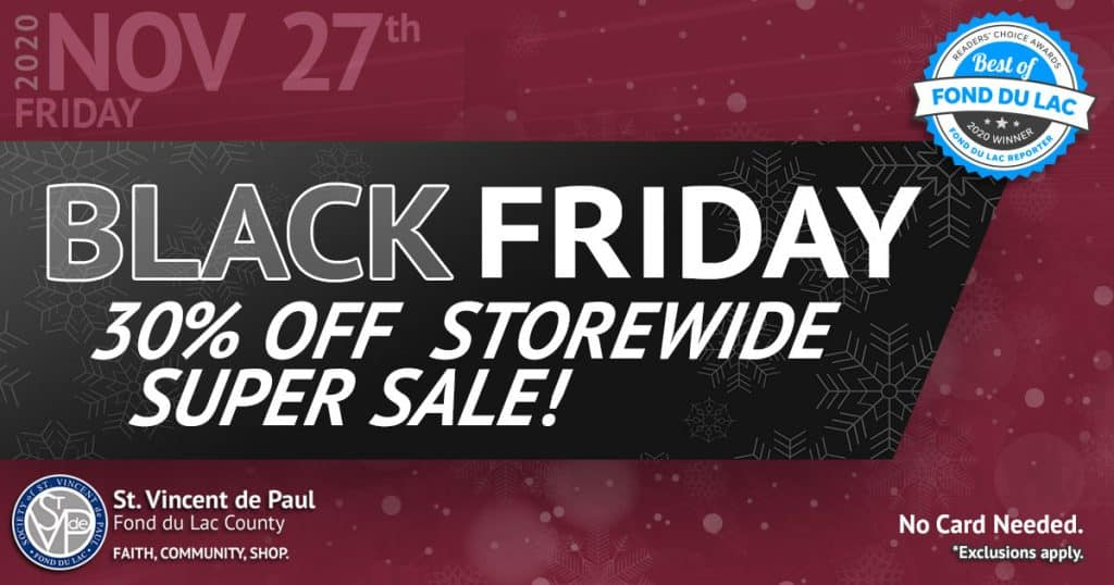 11/27/20: Black Friday 30% Off Storewide Super Sale.