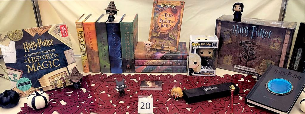 Harry Potter books and toys.