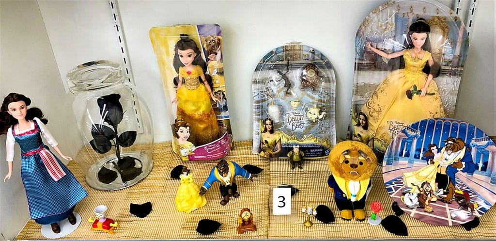 Beauty and the Beast dolls and toys.