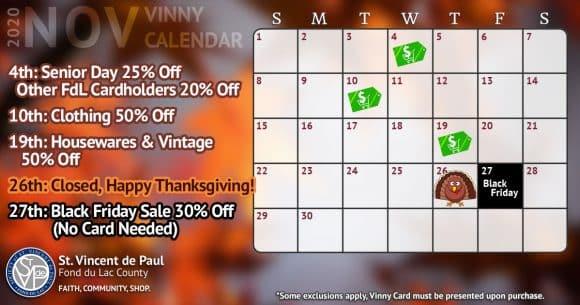 November 2020 Vinny Card Calendar.