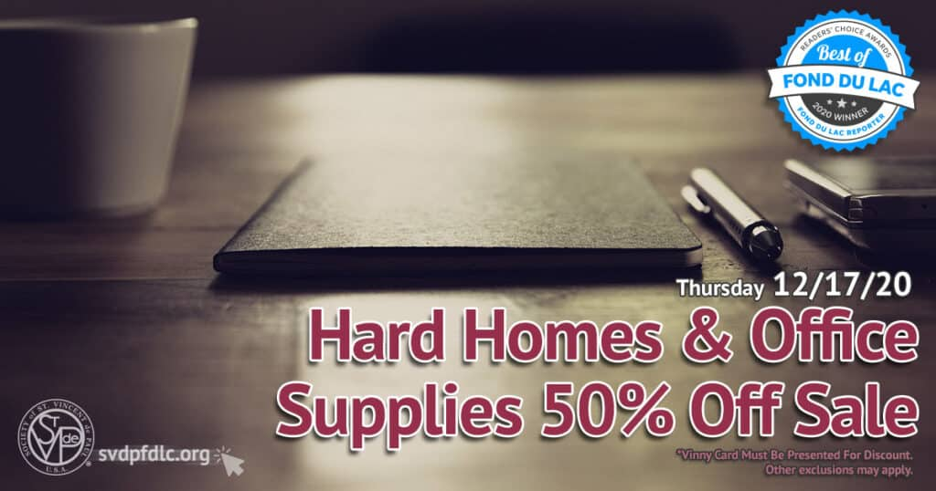 12/17/20: Hard Homes & Office Supplies 50% Off Sale.