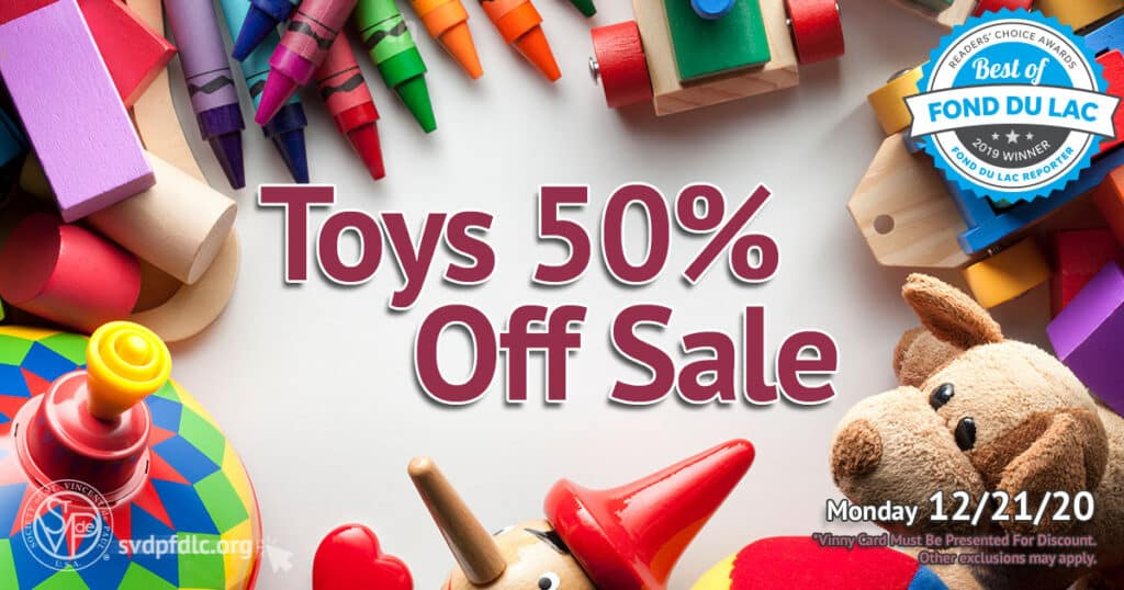 12/21/20: Toys 50% Off Sale.
