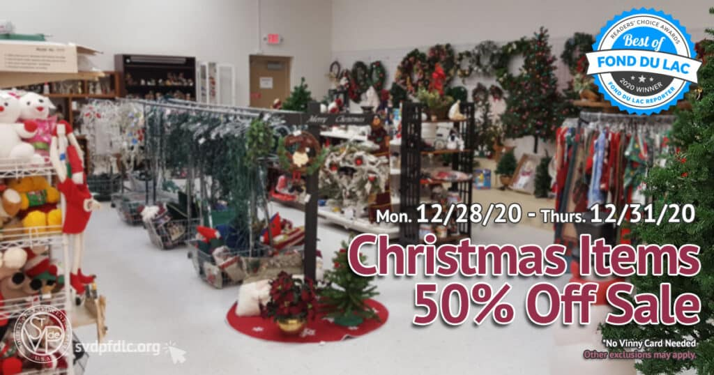 12/28/20 thru 12/31/20: Christmas Items 50% Off Sale.