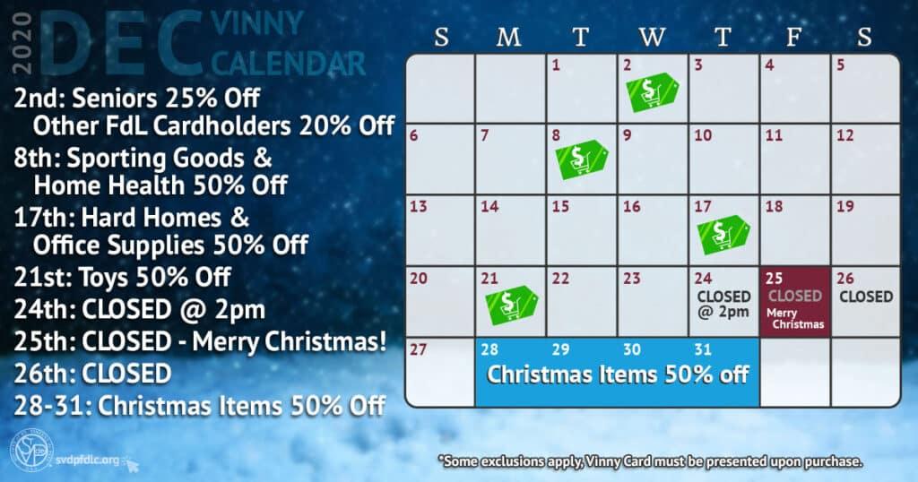 December 2020 Vinny Card Calendar.