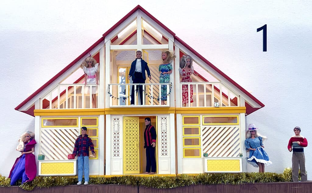 Barbie doll house and Barbie doll assortment.