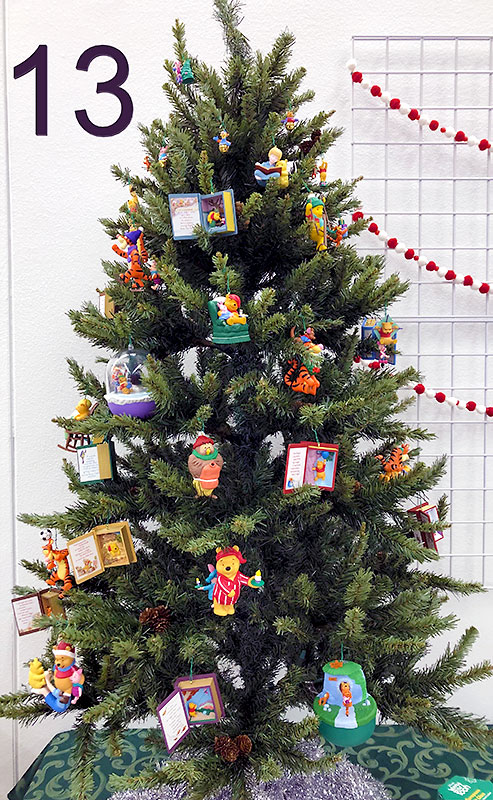 Winnie-the-Pooh Christmas tree and ornaments.
