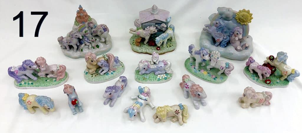 Ceramic pony figures.