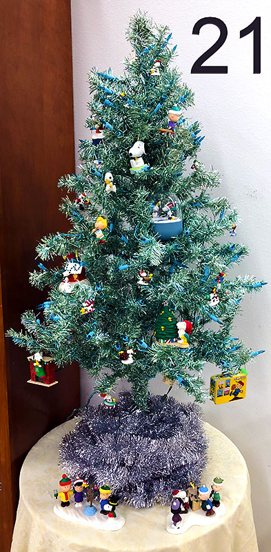 Don Schulz's Peanuts ornaments and Christmas tree.