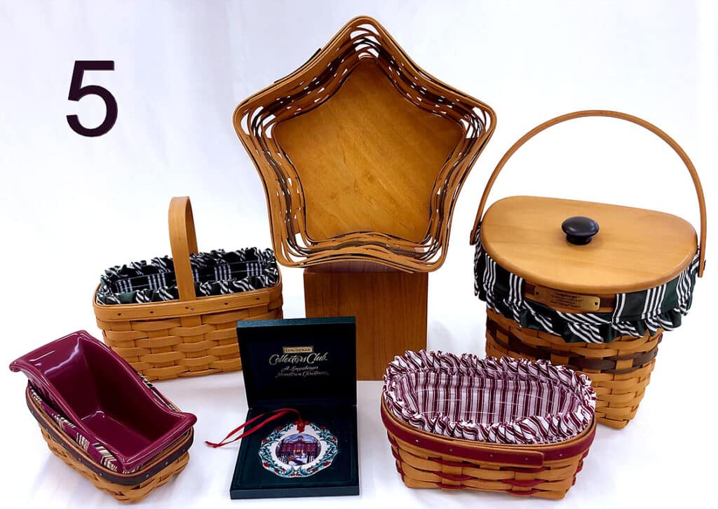 Longaberger baskets and ornaments.