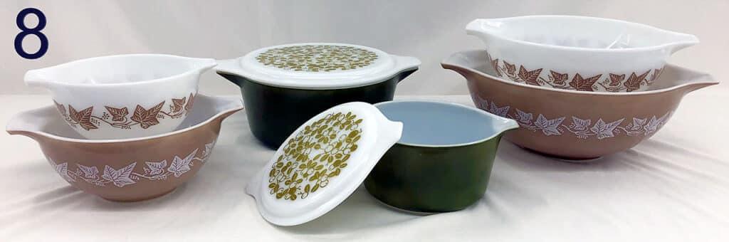 Pyrex bowls and pots.